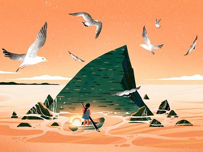 A girl's journey illustration