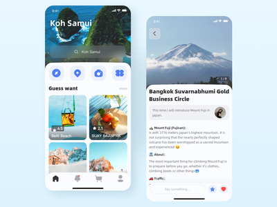 Two tourism interfaces app ux ui