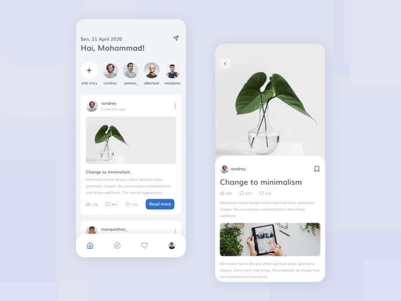 Social Media App social media minimalist white clean case study ux research flat design blue exploration app ux design ux ui design ui