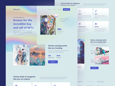 Vektordo - NFTs Marketplace Website marketplace purple header landing page holographic cryptocurrency crypto nftart nft nfts