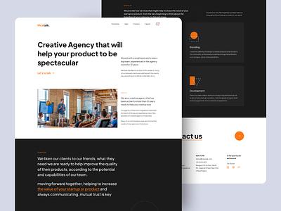 Nicetalk - Creative Agency Landing Page orange white black website branding shape header minimalist modern agency landingpage design flat design exploration ux design ui design ux