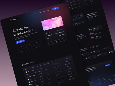 Cryptoon - Cryptocurrency Website💎 modern modernstyle minimalist website header crypto wallet blockchain trade ethereum bitcoin landingpage exploration dark nfts nft cryptocurrency crypto