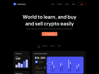 Cryptolayer - Cryptocurrency Website🔥 website chart modern colorful dark invest trade blockchain exchange etheureum bitcoin cryptocurrencywebsite cryptocurrency crypto flat design ux design ui design exploration ux ui