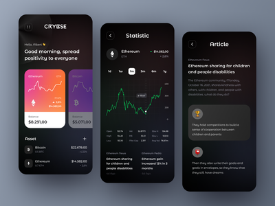 Crybse - Cryptocurrency App〽️ marketcap product design ux ui apps app coin blockchain bitcoin etheureum nfts nft wallet trading chart dark cryptocurrency crypto