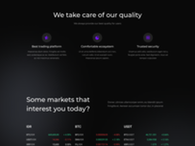 CRYBSE - The best trading cryptocurrency assets〽️ coin binance landingpage website ux ui modernstyle modern dark wallet investment usdt ethereum bitcoin asset blockchain exchange trading cryptocurrency crypto