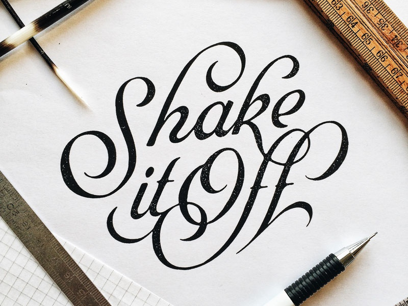 Shake It Off script hand lettering design lettering typography type