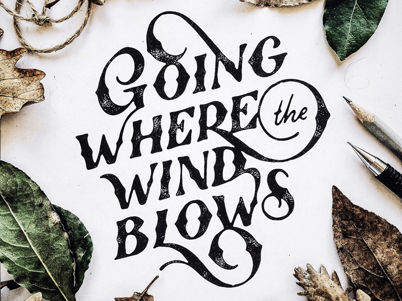 Going where the wind blows script hand lettering design lettering typography type