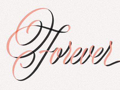 Forever script design ribbon illustration art typography handlettering letters lettering type