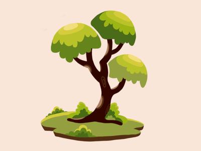 Tree drawing graphic design degital painting tree green creative art illustraion vector design