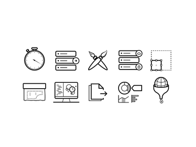 Icon set filters charts data visualization tailored scalable security customize export real time vector icons