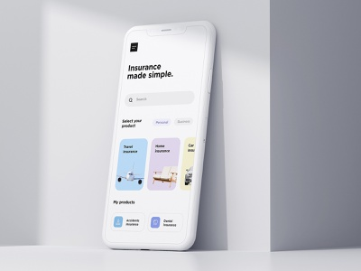 Insurance marketplace iOS App | SAAS agency bank balance fintech credit card spendings mobile banking components figma search homescreen service design product design travel minimal icon illustration design system android
