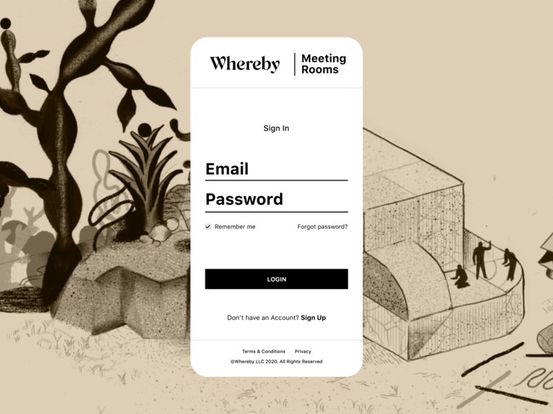 Whereby Login screen work from home work wfh supporter support subscription room recording professional plans participant meeting login illustration get in touch collaboration branding