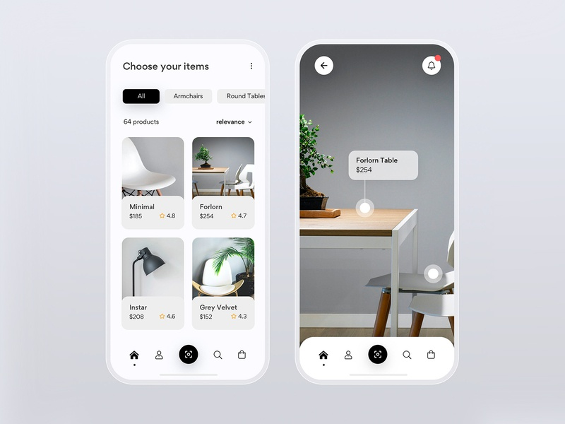 Furniture iOS AR online store cart qr scan e-commerce online store ratings catalogue catalog search tabs filters ios development development developer ios app ios navbar navigation badge notifications