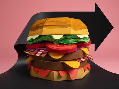 Paper hamburger hamburger food papercut paper art papercraft paper photography illustration