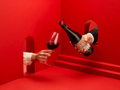 PASSIONESENTIMENTO Red Wine red wine wine papercut paper art brand branding