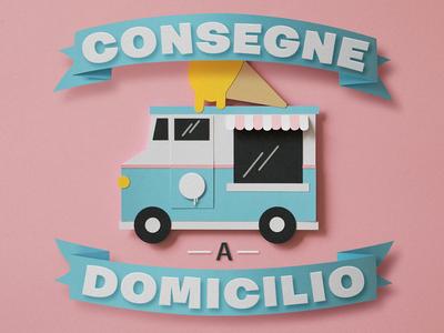 Ice cream truck truck icecream paper craft papercraft paper art papercut typography illustration