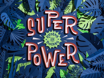 Superpower vinyl cd packaging music papercut papercraft paper art paper jungle lettering typography