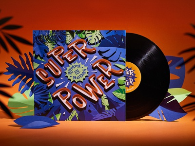 Superpower Vinyl vinyl cover cd music paper craft paper art papercut jungle illustration typography design