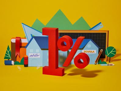 1% for the school photography illustration papercut paper art design