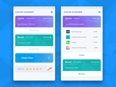 Cache Cleaner sketch ui app andriod