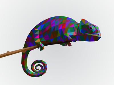 chameleon lowpoly popart
