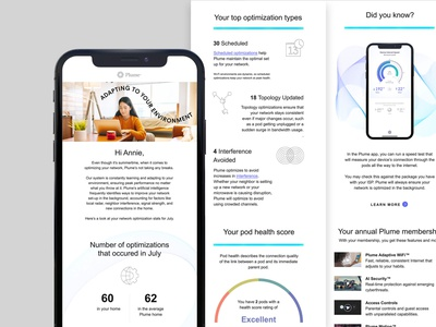 Plume Data Personalization Emails mobile-friendly retention email marketing smart home tech stats custom membereship personalization personalized email data recurring