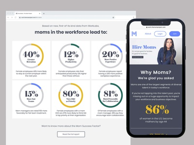 Landing Page Design for The Mom Project stats create positivity diversity and inclusion dei support moms hire moms data landing page