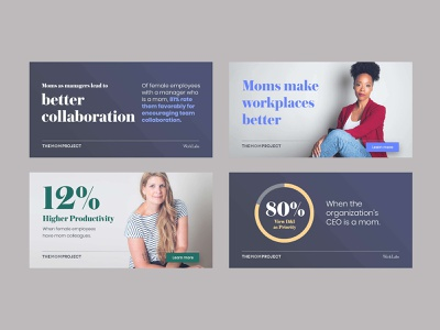 Social Banner Design for The Mom Project create positivity campaign diversity and inclusion dei hire moms data stats social banners