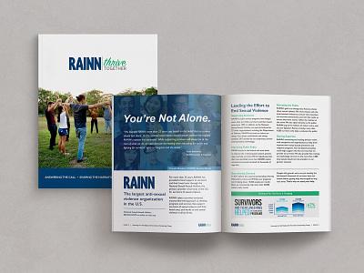 Sponsorship Proposal for RAINN's Thrive Together Campaign design partner support survivors non-profit nonprofit giving back live pono create positivity editorial design proposal campaign sponsorship