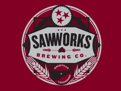 Saw Works Brewery 2color vector screenprinting shirtdesign