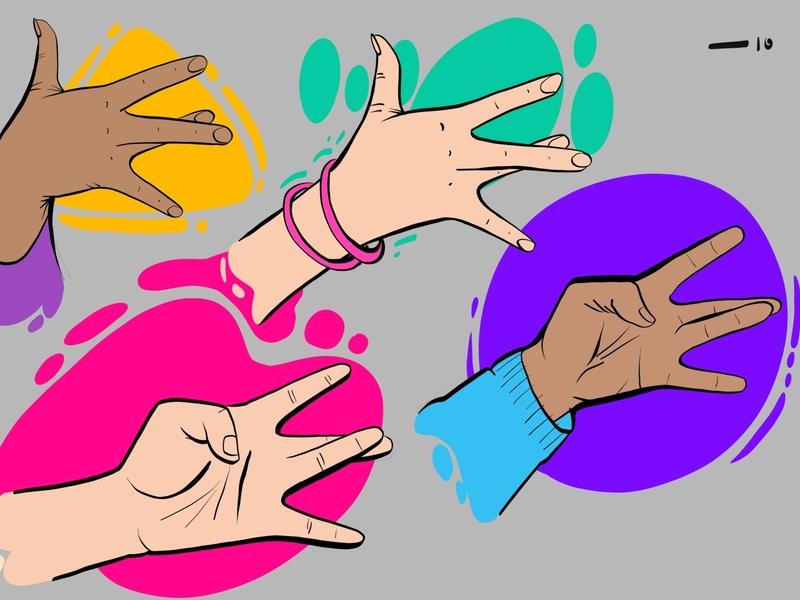 East Side hands freelance illustration client vector