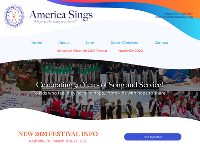Web Layout - America Sings header non-profit layout web work client