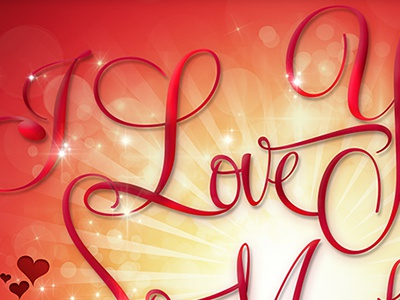 Ilove love shine light color red yellow typography sun