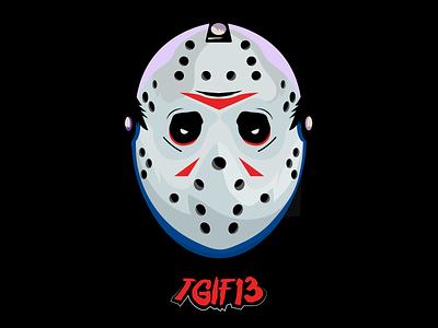 TGIF13 Mask Vector helmet head illustration fridaythe13th friday 13th tgif halloween mask vector logo