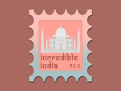 Visit India stamp vector taj mahal tajmahal indian india typography drawing warmup branding weekly challenge illustration dribbble challenge weekly dribbbleweeklywarmup design
