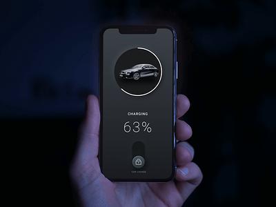Minimalist Car Lock Screen app design neumorphic dark mode dark ui electric car lock screen mercedes uiux