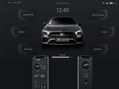 Mercedes Mobile and Infotainment Interface ui  ux ux  ui dark ui ui concept design dark mode infotainment mercedes-benz concept mercedes