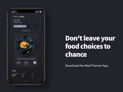 Speed Design: Meal Planner & Recipe App neumorphic dark dark mode interface uiux food app ui ui speed design iphone app iphone x food app meal planner