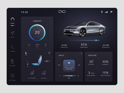 Lightyear Concept - Better Contrast electric car ui design uiux dark ui interface media system car infotainment dark mode concept lightyear one lightyear