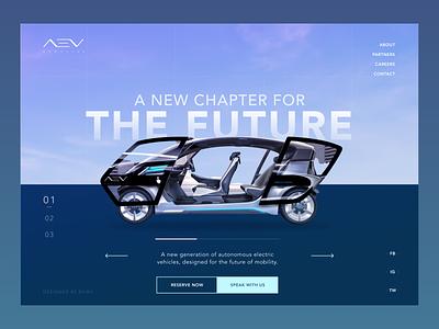 AEV Robotics Concept minimalist clean web design layout interface car ui design dark ui dark mode concept