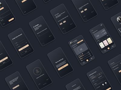 Budgeting App Screens mobile app mobile graphic design dark ui design interface dark mode concept uiux