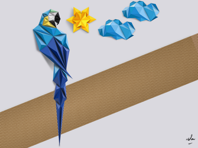 Origami Parrot Instructions   Free Printable Papercraft Templates   600x800