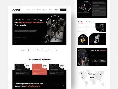 Arint -  Artificial Intelligence Landing Page web ai artificial intelligence web design website landing page design clean uiux uidesign ux ui