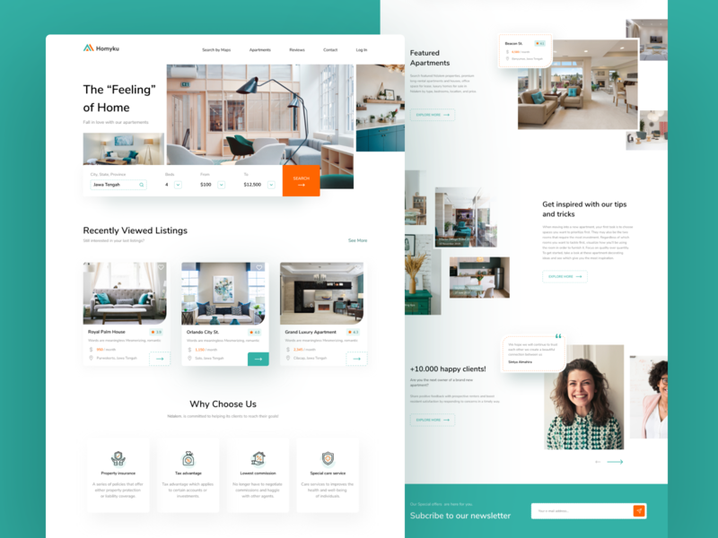 Homyku Landing page (Redesign) ui simple redesign uidesign homepage card landingpage sell buy client property design uiux apartment home webdesign website uitrends noansa dailyinspiration