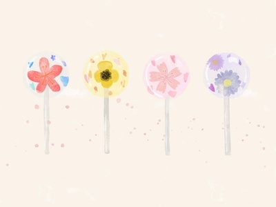 Floral Lollipops procreate drawing illustraion