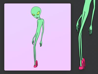 Alien, but make it fashion adobe illustrator flat minimal vector illustration cartoon alien