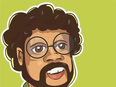 Caricature of Ashoka Hadagama iris caricature vector srilanka illustration avatar comic