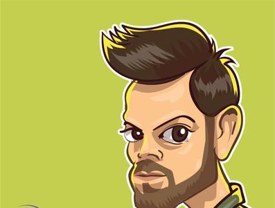 virat kohli cricket comics design vector srilanka iris illustration comic caricature avatar virat kohli