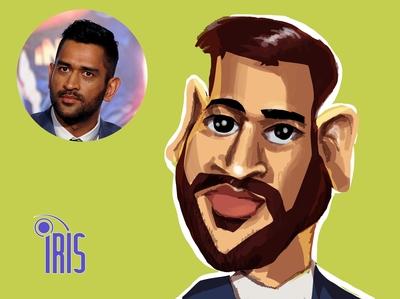caricature of MS dhoni cricket icc creative shoni iris comics caricature avatar vector comic