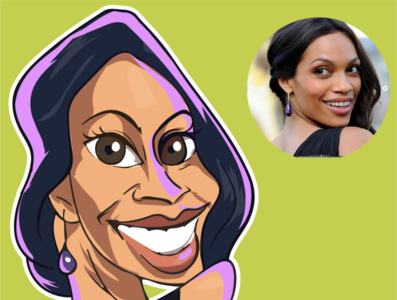 caricature of Rosario Dawson rosario dawson creative avatars actor comics design iris illustration comic vector caricatures caricature